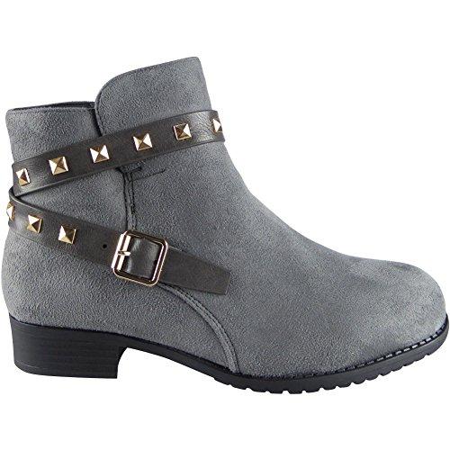 Nuove donne Fibbia Cinghia bottoncino Caviglia Stivali Dimensione 36-41 Grigio