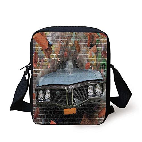 LULABE Cars,Graffiti Featured Graphic of Crashing Automobile on A Brick Wall Underground Street Style,Multi Print Kids Crossbody Messenger Bag Purse - Brick Graphics Wall