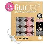 Guirlande Lumineuse boules coton LED USB - Chargeur double USB 2A inclus - 3 intensités - 24 boules - Églantine