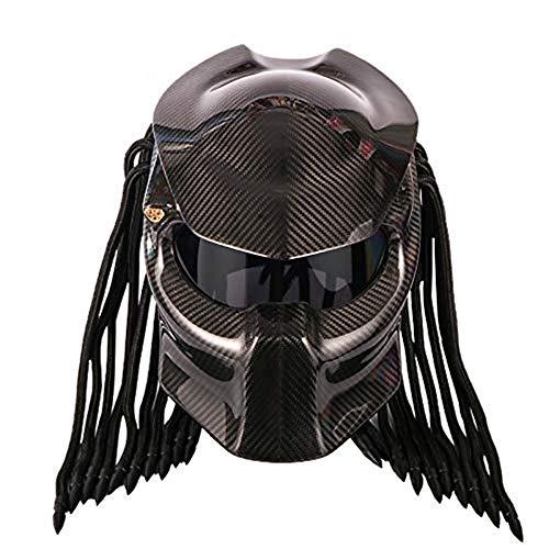 Casco moto in fibra di carbonio, casco integrale Casco casco anti-fog nero a quattro stagioni Casco uomo e donna, certificato DOT Safety (M/L/XL/XXL),Black,XXL