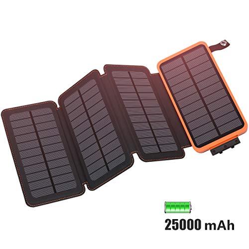 FEELLE 25000mAh Solar powerbank, Solar Ladegerät with 4 Solarzellen Wasserdicht Externer Akku Battery Pack mit Lighting für iPhone, iPad, Samsung, Huawei und andere Geräte