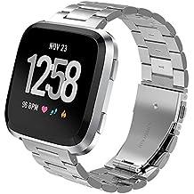 PUGO - Correa para Fitbit Versa Watch, Milanese Loop, imán de Acero Inoxidable,