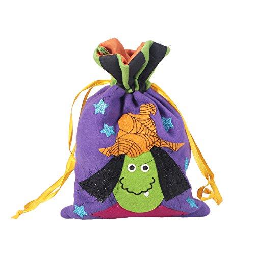 Hexe Design Kordelzug Geschenk Treat Tasche Kinder Snack Bag Süßes oder Saures Candy Bag Handtasche für Halloween Cosplay Kostüme Decor Party Gefälligkeiten ()