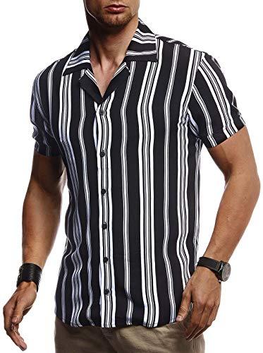 LEIF NELSON Herren Hemd Kurzarm Oversize Kentkragen | Stylisches Männer Hawaiihemd Stretch Kurzarmhemd | Jungen Basic Shirt Freizeit Urlaub Sommerhemd Freizeithemd| LN3695 Schwarz-Weiß Medium