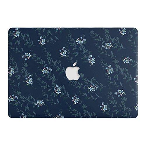 One Mikron für MacBook Pro 33cm Case Soft Touch Kunststoff Hartschale Matt Case Blumen Scratch Guard Cover für A1706/A1708MacBook Pro 33cm (2016/2017/2018), Blau mit Kleinen Blumenmuster Design - Mac Holz Pro-tastatur-abdeckung