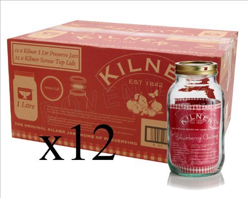 Kilner Screw Top Lid Air Tight Round Preserving Glass Jars - Set of 12 - 1 Litre