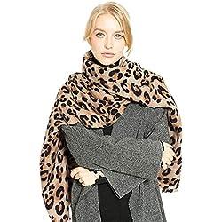 Malloom Otoño e invierno leopardo de imitación cachemira calor engrosamiento señoras bufanda chal