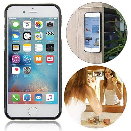 inrichtung anti-gravity-Stativ mit Tasche, ideal beim Kochen/Make-up/mit Biss-Funktion, mit Displayschutzfolie aus gehärtetem Glas für Apple iPhone 7Plus–schwarz (Biss Make Up)