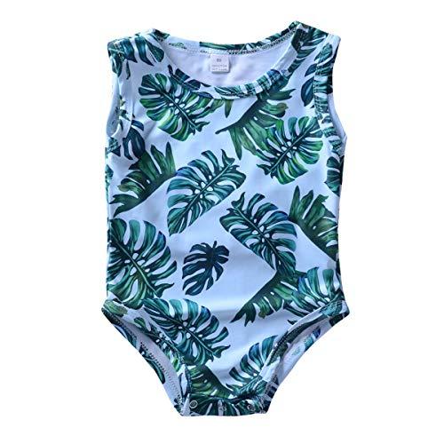 Yonimu Kinder Mädchen Sommer Casual Blatt Blätter gedruckt Bademode Schwimmen Badeanzug Beachwear Outfits (Color : Green, Size : 1-2t)