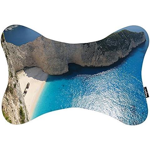 i FaMuRay Bone Shaped Zippered Cuello Almohada de Viaje Beach Mountains Ocean Rocks Sea Summer