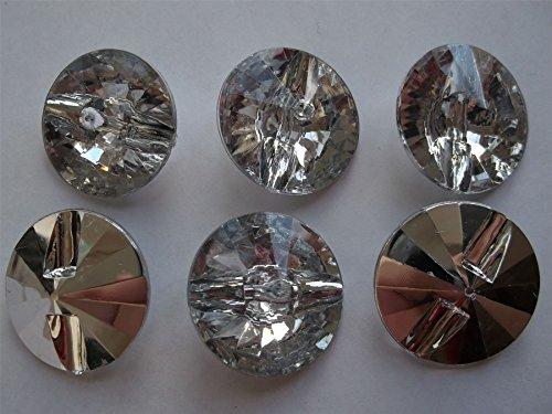 Confezione da 25bottoni strass di cristallo rotondo 1foro, in plastica, 15mm per Cucito, Decorazioni, vestiti,