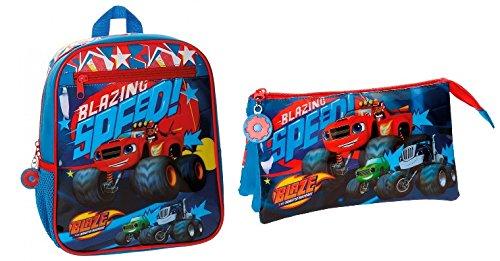 Imagen de blaze and the monster machines  pack  blaze race de 28 cm 23x28x10 cm + estuche neceser tres compartimentos 22x12x5 cm blaze race.