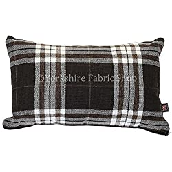 "Funda inspirado escocés Tartan Diseño de cuadros tejido cojín relleno cojines británico hecho a mano color marrón oscuro–Tamaño rectangular–50cm x 30cm–19""x 12pulgadas"