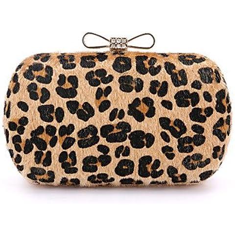 Da Wu Jia Ladies borsetta di alta qualità di lusso donne Suede /formale / evento/parte / Matrimoni Borsa serale Fur diamanti Bow borsetta Leopard Stampa giorno frizione , grigio chiaro