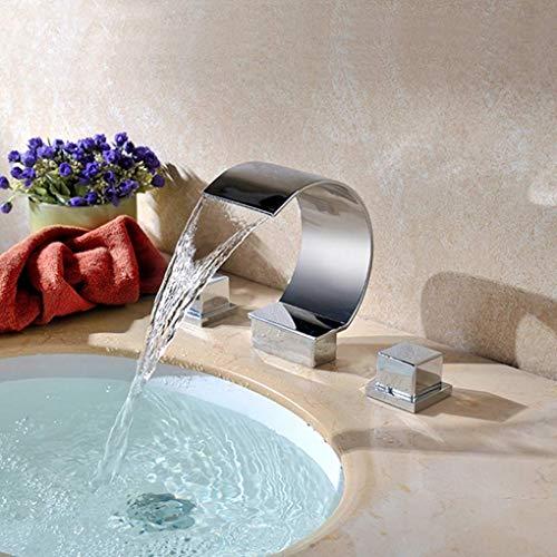 Muzi-Faucet Wasserfall Wasserhahn, Waschbecken Waschbecken Dreiteilig, Badezimmer Set, Bad Wasserhahn, Moderne Waschbecken Wasserhahn, Badewanne Wasserhahn, Bad Wasserhahn,Silver