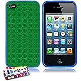 Originale Schutzschale von MUZZANO : Blau, ultradünn und flexibel, mit Green bricks-Muster für APPLE IPHONE 4 / IPHONE 4S