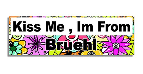 Price comparison product image Kiss Me , Im From Bruehl Car Sticker Sign - Decal Bumper Sign - 5 Colours - Flowers