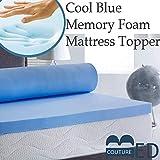 Bedcouture - Coprimaterasso rinfrescante in Memory Foam, Spessore 5 cm, Colore: Blu, Singolo