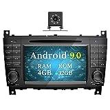 Ohok 7 Zoll Bildschirm 2 Din Autoradio Android 9.0 Pie Octa Core Radio mit Navi Moniceiver DVD GPS Navigation Unterstützt Bluetooth WLAN DAB+ für Mercedes-Benz C-Class/CLK mit Klein-Rückfahrkamera