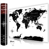 Jassoux Hochwertige Rubbel Weltkarte - XXL Poster zum Freirubbeln, inklusive Rubbelchip (87 x 61 cm, Deutsch - Weiß/Schwarz)