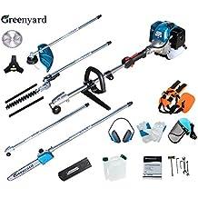 Greenyard 5 en 1 Herramienta Combi de Jardinería - Multifunción con 51.7cc, 3 CV de Potencia a Dos Tiempos - a Gasolina Desbrozadora, Podadora, Cortasetos y Motosierra
