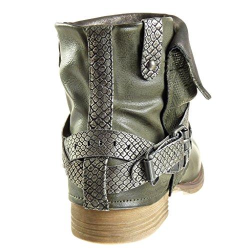 Angkorly - Scarpe Moda Stivaletti Scarponcini biker cavalier donna pelle di serpente tanga borchiati Tacco a blocco 3 CM - soletta Foderato di Pelliccia Verde