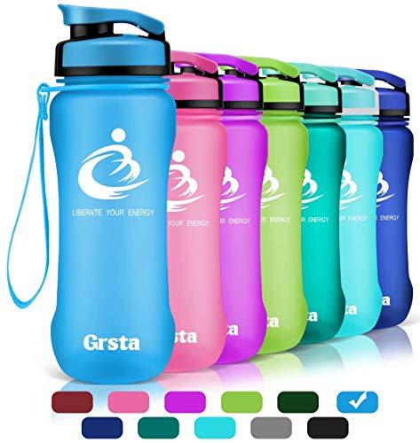 Grsta bottiglia d'acqua sportiva - 20 oz-600ml borraccia sportiva, a prova di perdite, riutilizzabile senza bpa tritan plastica detox bottiglie acqua per palestra, sport, yoga, borraccia (blu)