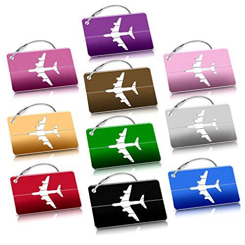 Avion Bagages Étiquettes, 10 Couleurs Aluminium Étiquettes Voyage Valise Bagages ID Tags pour sac à main Tag , Accessoires Bagages