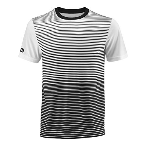 Wilson Herren Tennis-Kurzarmshirt, M Team Striped Crew, Polyester, Schwarz/Weiß, Größe: L, WRA769701 - Team Bekleidung Trikot Hat