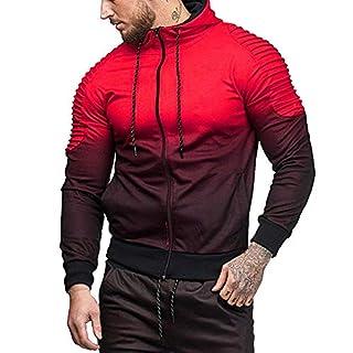 Anglewolf Mens' Autumn Winter Long Sleeve Splicing Fold Hooded Top Blouse Tracksuits Men's Midweight Regular Zip Hoody Jacket New Plus Big Size Sweatshirt Hoodie Jumper Plain Up Zipper(Red,L)
