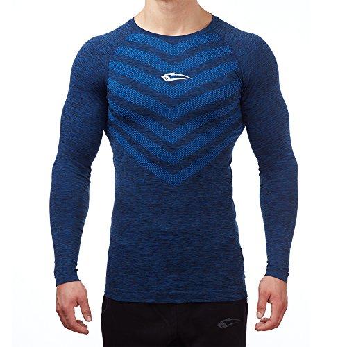 SMILODOX Slim Fit Longsleeve Herren | Seamless - Funktionsshirt für Sport Fitness Gym & Training | Langarmshirt - Trainingsshirt Langarm - Sportshirt mit Aufdruck, Farbe:Blau, Größe:XL (Sleeve Top Seamless Long)