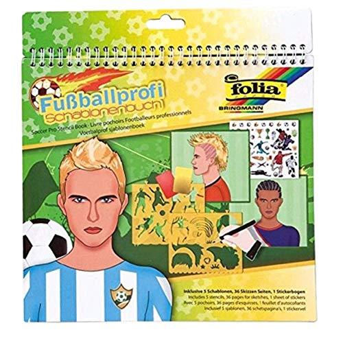 folia 41205 - Schablonenbuch Fußballprofi, Block mit 36 Malvorlagen, 5 Schablonen und 1 Stickerbögen - ideal für Jungen