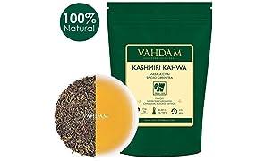 VAHDAM, Kashmiri Kahwa Masala Chai (50 Cups) | Green Tea Blended with Cardamom, Cinnamon, Almonds & Saffron | Brew Hot of Iced | Vacuum Sealed for Freshness | 100gm