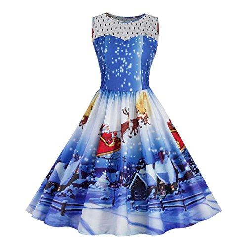 Kleid damen Kolylong® Frauen Vintage Spitze Rockabilly Kleid mit Weihnachtsmann Elegant Ärmellos Weihnachten Kleid Minikleid Swing Kleid Festlich Kleid Abendkleid (S, Blau) (Panel Kleid Tank)