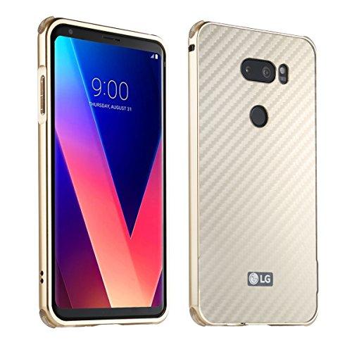 LG V30 Carbon Fiber Look Kohlefaser Optik FederLeicht Hülle Bumper Cover Schutz Tasche Schale Hardcase für LG V30, Gold