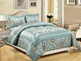 LUXURY 3PCS( Piece) Jacquard KING( 240X260 CM) + 2 PILLOW SHAMS Quilted Bed Spread Bedspread Comforter Set Size(King (240x260 CM), Betty Duck Egg Blue /Nutmeg)
