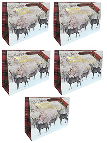 Christmas Gift Bag Large Wide Stag Glitter-5 Pack