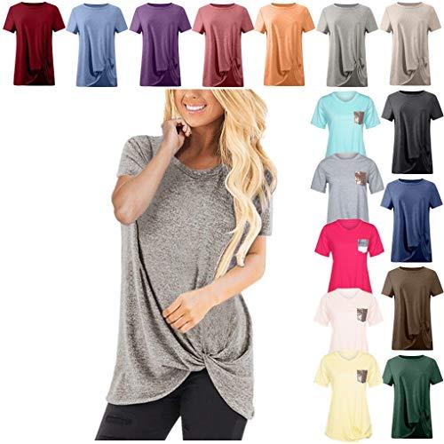Dorical Tshirt Oberteile für Damen Frauen Kurzarm Rundhal Lose Shirt,Oversize Oberteile,Casual Tops Tee,Ladies Sommer Hemd Lässige Tunika Bluse Shirt,Strand Partykleid - Schulter-boot