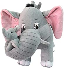 Toyboy Cute Mother Elephant With Two Baby Stuffed Soft Plush Toy - Grey
