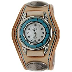 Kc,s Leather Craft Watch Bracelet Turquoise Movemnet 3 Concho Double Stitch Color Tan