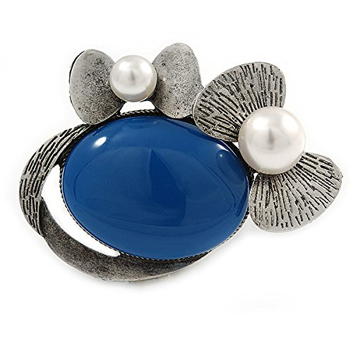 Royal Blue Ceramic Oval Stone with Pearl Flowers Brooch/Pendant In Pewter Tone Metal - 70mm 5I6Qwe