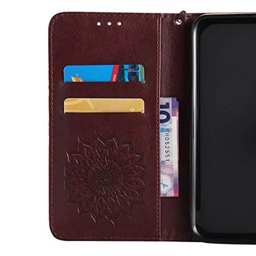 iPhone 7 Coque Etui, Bonice Coque en Cuir Flip Etui Housse Folio Bookstyle Housse Portefeuille Echelle Style Coque Housse Leather Case Wallet Shell de Protection Flip Cover Protector Coquille Couvertu Imprimé-Brune