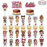 HYOUNINGF 48 Pezzi LOL Toppers per Torta di Compleanno , Cupcake Toppers, Simpatici Personaggi dei Cartoni Animati Decorazione Torta Festa di Compleanno (24 Modelli) (1)