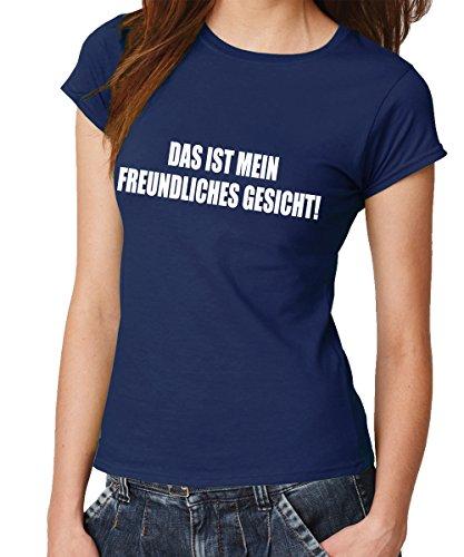 clothinx - Das ist Mein Freundliches Gesicht! - Girls T-Shirt Navy, Größe ()