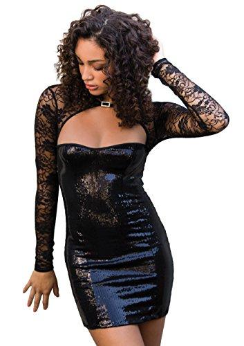 Leg Avenue 86596 - Pailletten-Minikleid mit Spitze-Achselzucken, Größe S, schwarz (Kleid Mini Mit Strass-schnalle)