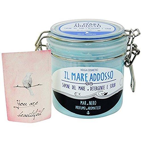 Savon de la Mer Natural - Savon Exfoliant Douce pour Mains, Visage, Corps - Mer Noire: Amande et Vanilla - Fabriqué en Italie