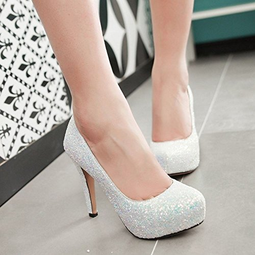 COOLCEPT Damen Mode-Event Slip On Kroco-Look Schuhe Stiletto Geschlossene Pumps White