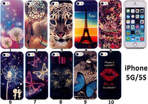 Beiuns coque en silicone pour Apple iPhone 5 5G 5S TPU Housse Coque -N166 tigre N172 baiser pour déverrouiller !!!