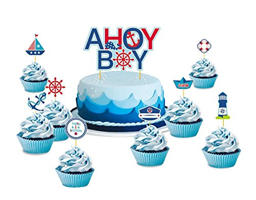 SUNBEAUTY Maritime Torte Toppers Babyparty Geburtstag Kuchen Dekoration (Kuchendeko)