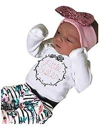 JYC Ropa para Chicas,Conjuntos para niñas,Infantil Bebé Chicas Largo Manga Carta ImpresiónMameluco + Floral Impresión Pantalones Trajes